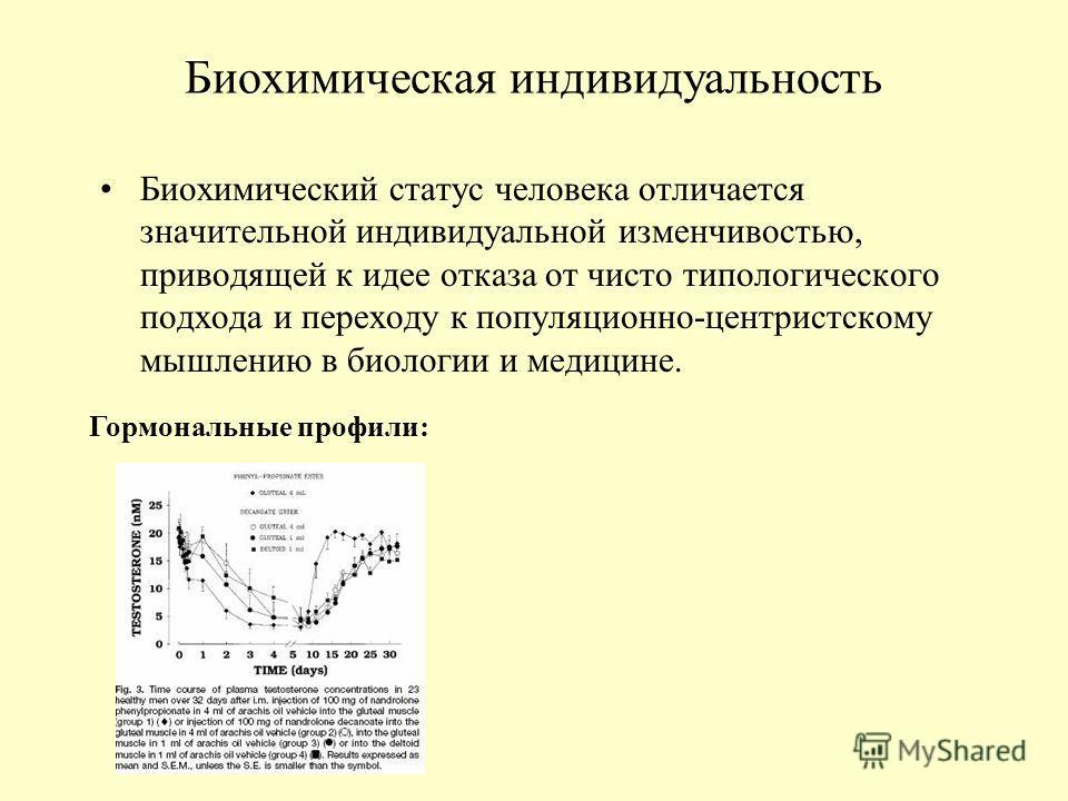 Биохимическая индивидуальность Биохимический статус человека отличается значительной индивидуальной изменчивостью, приводящей к идее отказа от чисто типологического подхода и переходу к популяционно-центристскому мышлению в биологии и медицине. Гормо