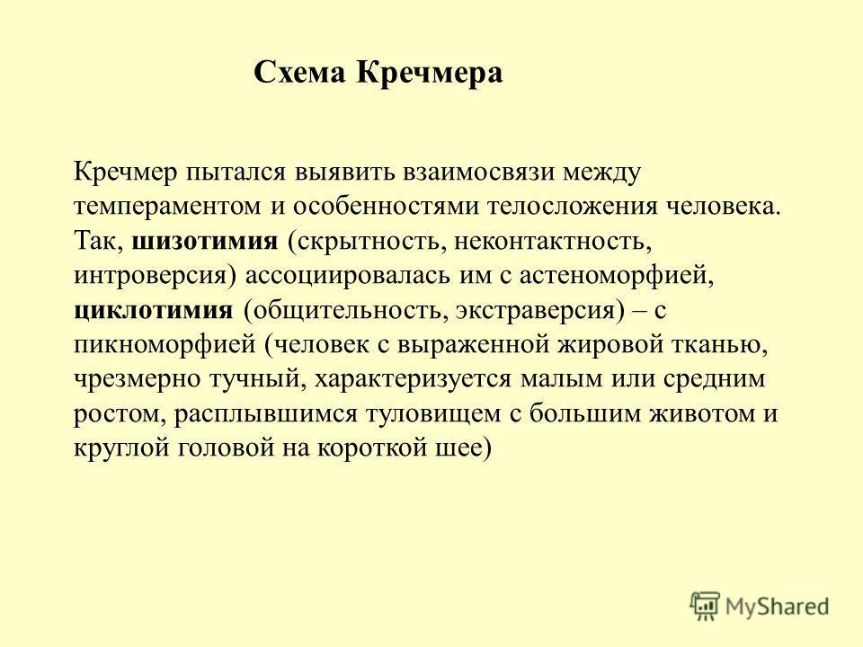 Схема Кречмера Кречмер пытался выявить взаимосвязи между темпераментом и особенностями телосложения человека. Так, шизотимия (скрытность, неконтактность, интроверсия) ассоциировалась им с астеноморфией, циклотимия (общительность, экстраверсия) – с пи