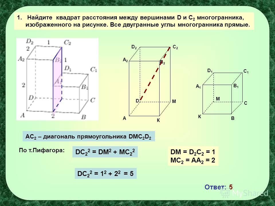 1.Найдите квадрат расстояния между вершинами D и С 2 многогранника, изображенного на рисунке. Все двугранные углы многогранника прямые. А К К В С М М С1С1 D1D1 A1A1 B2B2 C2C2 D2D2 A2A2 D B1B1 AC 2 – диагональ прямоугольника DMC 2 D 2 DC 2 2 = DM 2 +