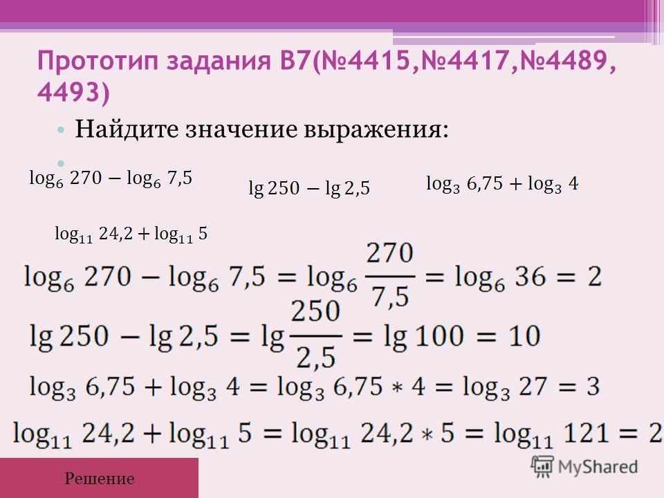 Прототип задания B7(4415,4417,4489, 4493) Найдите значение выражения: Решение
