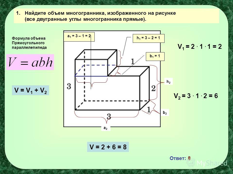 Найдите объем многогранника изображаемого на рисунке