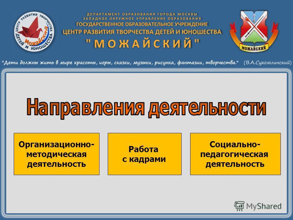 Организационно- методическая деятельность Социально- педагогическая деятельность Работа с кадрами