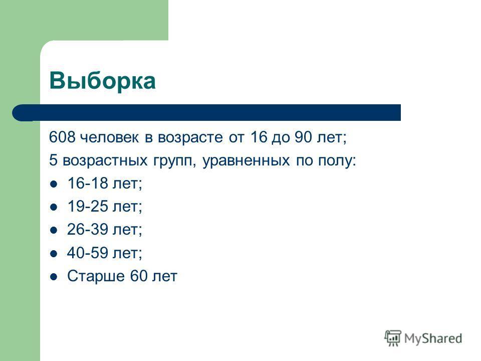 Выборка 608 человек в возрасте от 16 до 90 лет; 5 возрастных групп, уравненных по полу: 16-18 лет; 19-25 лет; 26-39 лет; 40-59 лет; Старше 60 лет
