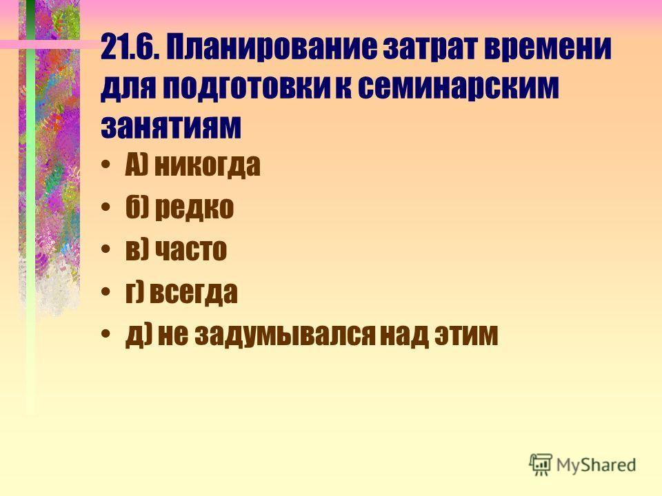 21.6. Планирование затрат времени для подготовки к семинарским занятиям А) никогда б) редко в) часто г) всегда д) не задумывался над этим