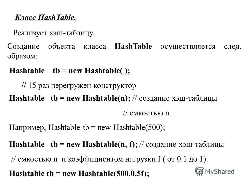 Класс HashTable. Реализует хэш-таблицу. Создание объекта класса HashTable осуществляется след. образом: Hashtable tb = new Hashtable( ); // 15 раз перегружен конструктор Hashtable tb = new Hashtable(n); // создание хэш-таблицы // емкостью n Например,