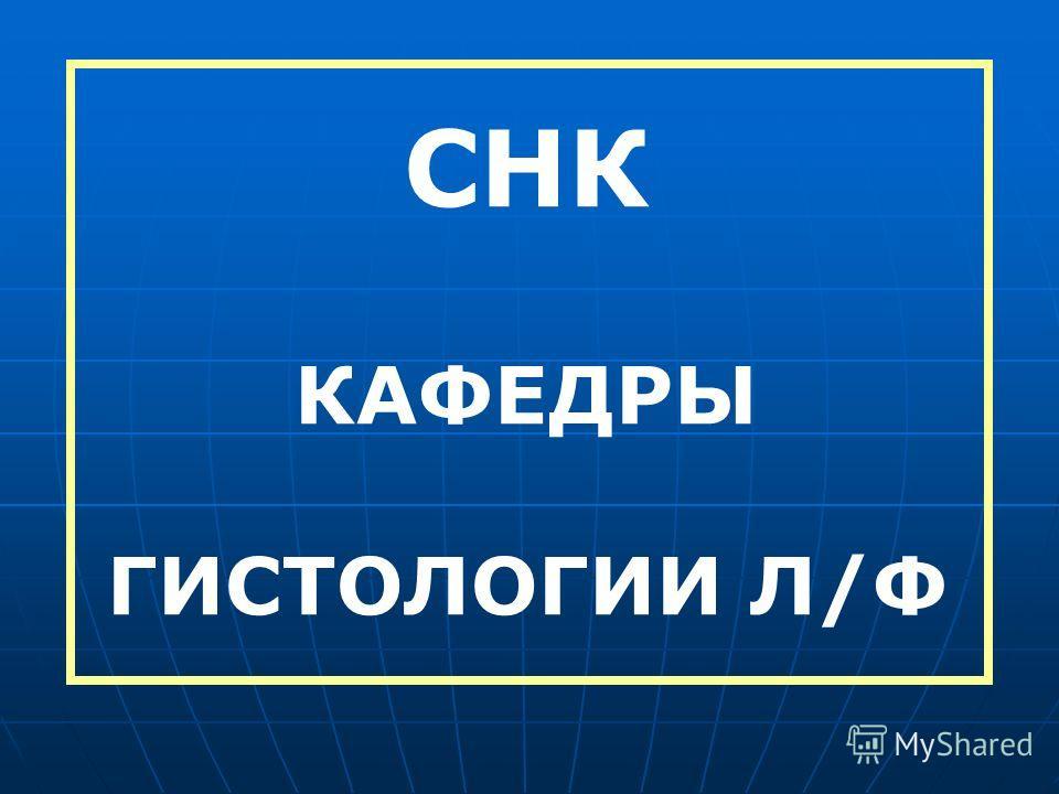 СНК КАФЕДРЫ ГИСТОЛОГИИ Л/Ф