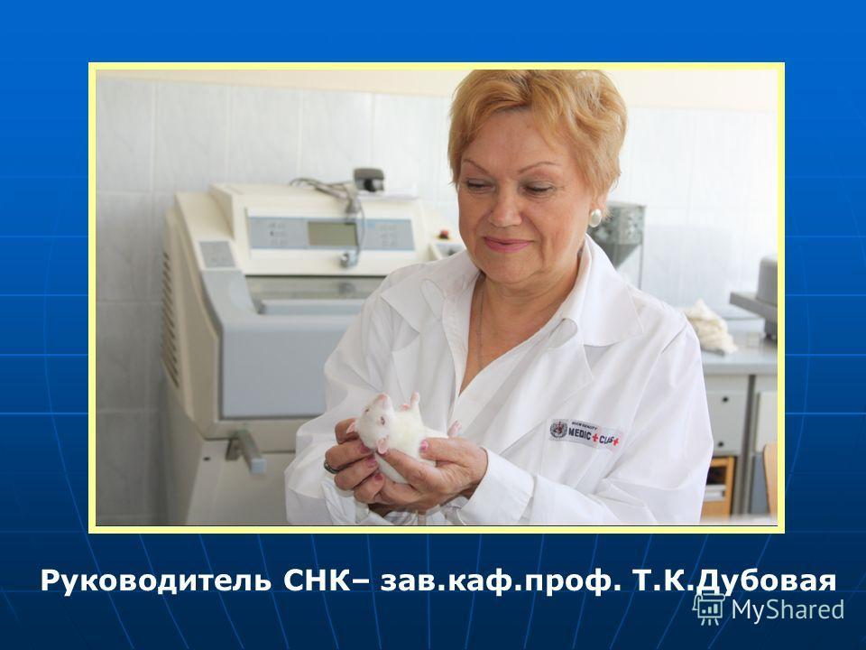 Руководитель СНК– зав.каф.проф. Т.К.Дубовая