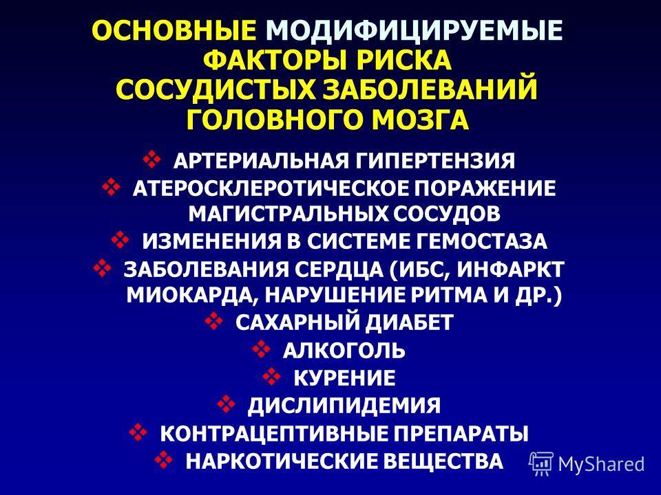 ОСНОВНЫЕ МОДИФИЦИРУЕМЫЕ ФАКТОРЫ РИСКА СОСУДИСТЫХ ЗАБОЛЕВАНИЙ ГОЛОВНОГО МОЗГА АРТЕРИАЛЬНАЯ ГИПЕРТЕНЗИЯ АТЕРОСКЛЕРОТИЧЕСКОЕ ПОРАЖЕНИЕ МАГИСТРАЛЬНЫХ СОСУДОВ ИЗМЕНЕНИЯ В СИСТЕМЕ ГЕМОСТАЗА ЗАБОЛЕВАНИЯ СЕРДЦА (ИБС, ИНФАРКТ МИОКАРДА, НАРУШЕНИЕ РИТМА И ДР.)
