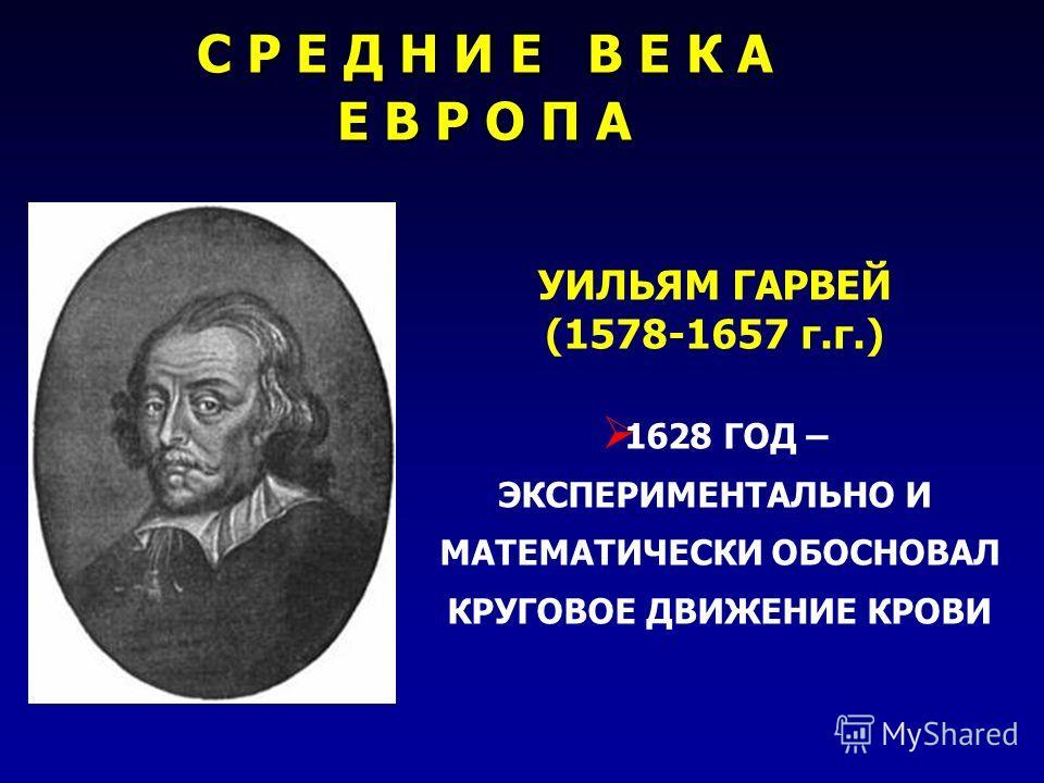 УИЛЬЯМ ГАРВЕЙ (1578-1657 г.г.) 1628 ГОД – ЭКСПЕРИМЕНТАЛЬНО И МАТЕМАТИЧЕСКИ ОБОСНОВАЛ КРУГОВОЕ ДВИЖЕНИЕ КРОВИ С Р Е Д Н И Е В Е К А Е В Р О П А