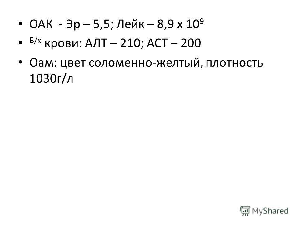ОАК - Эр – 5,5; Лейк – 8,9 х 10 9 Б/х крови: АЛТ – 210; АСТ – 200 Оам: цвет соломенно-желтый, плотность 1030г/л