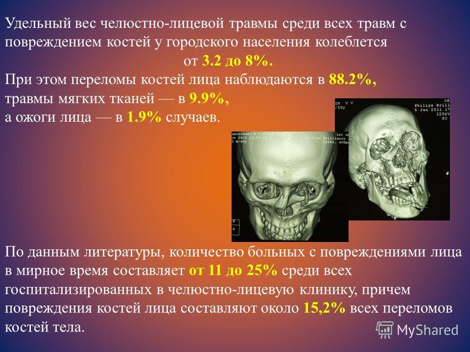 Удельный вес челюстно-лицевой травмы среди всех травм с повреждением костей у городского населения колеблется от 3.2 до 8%. При этом переломы костей лица наблюдаются в 88.2%, травмы мягких тканей в 9.9%, а ожоги лица в 1.9% случаев. По данным литерат