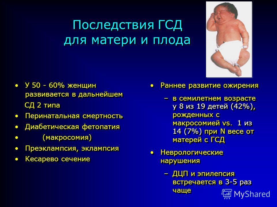 Последствия ГСД для матери и плода Раннее развитие ожиренияРаннее развитие ожирения –в семилетнем возрасте у 8 из 19 детей (42%), рожденных с макросомией vs. 1 из 14 (7%) при N весе от матерей с ГСД Неврологические нарушенияНеврологические нарушения