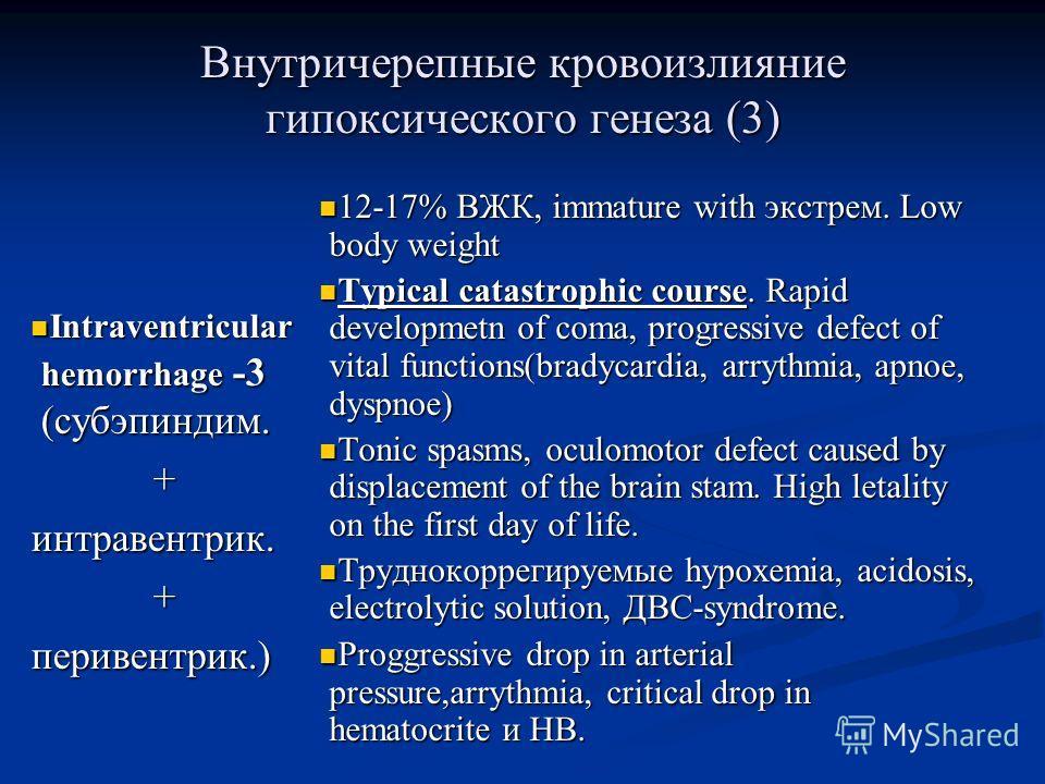 Внутричерепные кровоизлияние гипоксического генеза (3) Intraventricular hemorrhage -3 (субэпиндим. Intraventricular hemorrhage -3 (субэпиндим.+интравентрик.+перивентрик.) 12-17% ВЖК, immature with экстрем. Low body weight Typical catastrophic course.