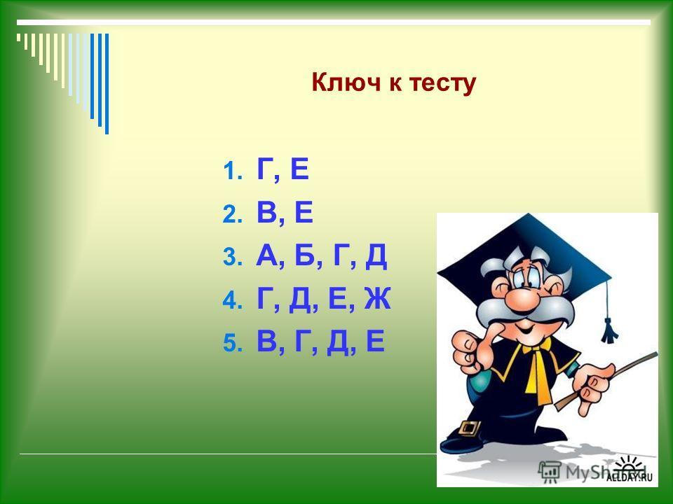 Ключ к тесту 1. Г, Е 2. В, Е 3. А, Б, Г, Д 4. Г, Д, Е, Ж 5. В, Г, Д, Е