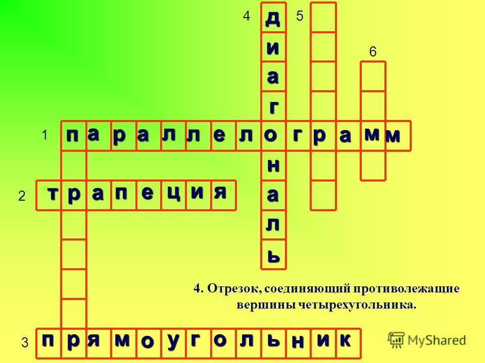 1 2 3 45 6 4. Отрезок, соединяющий противолежащие вершины четырехугольника. п а ра л л е логр а м м тра пе ция прям о уголь н ик д и а г н а л ь