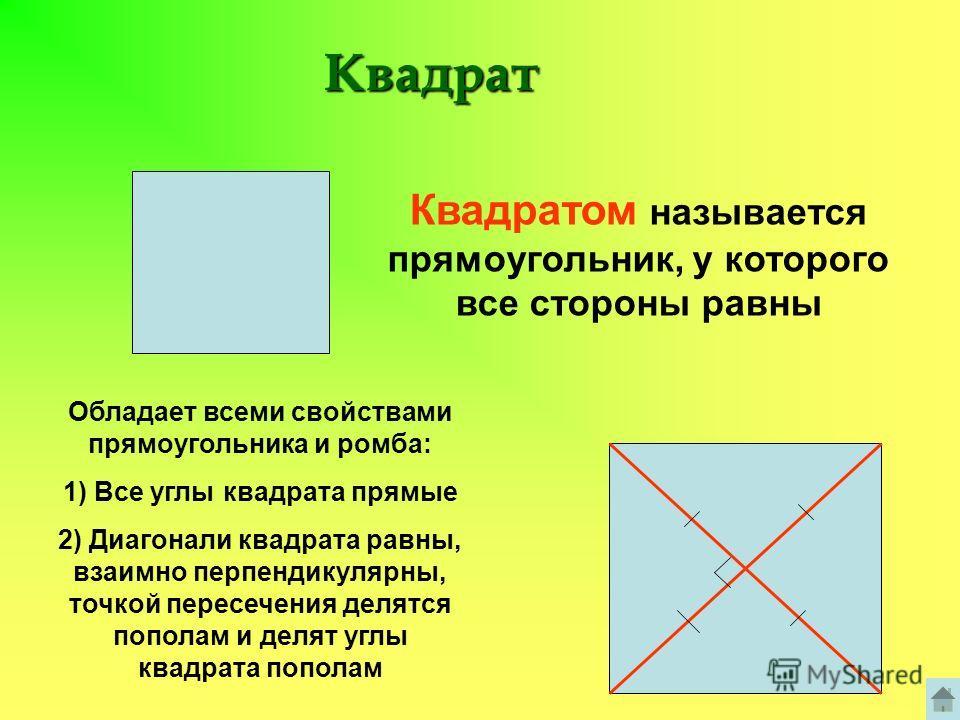 Квадрат Квадратом называется прямоугольник, у которого все стороны равны Обладает всеми свойствами прямоугольника и ромба: 1) Все углы квадрата прямые 2) Диагонали квадрата равны, взаимно перпендикулярны, точкой пересечения делятся пополам и делят уг