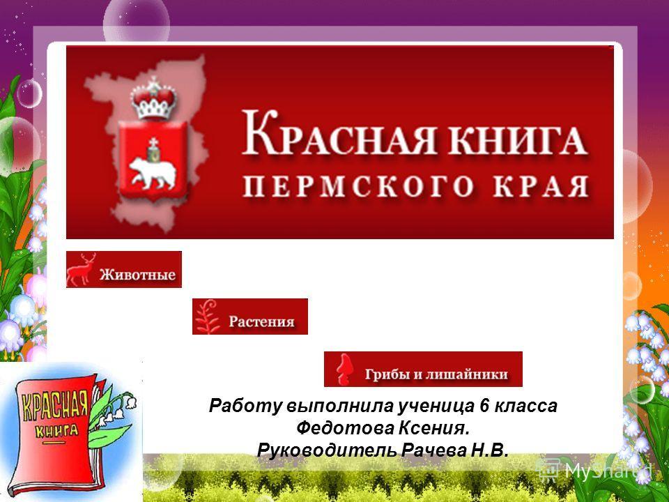 Работу выполнила ученица 6 класса Федотова Ксения. Руководитель Рачева Н.В.