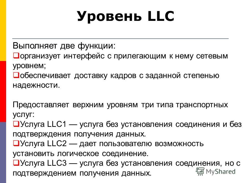 Уровень LLC Выполняет две функции: организует интерфейс с прилегающим к нему сетевым уровнем; обеспечивает доставку кадров с заданной степенью надежности. Предоставляет верхним уровням три типа транспортных услуг: Услуга LLC1 услуга без установления