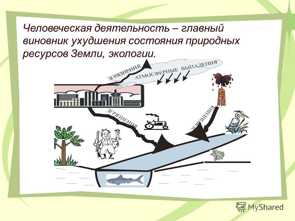 Человеческая деятельность – главный виновник ухудшения состояния природных ресурсов Земли, экологии.