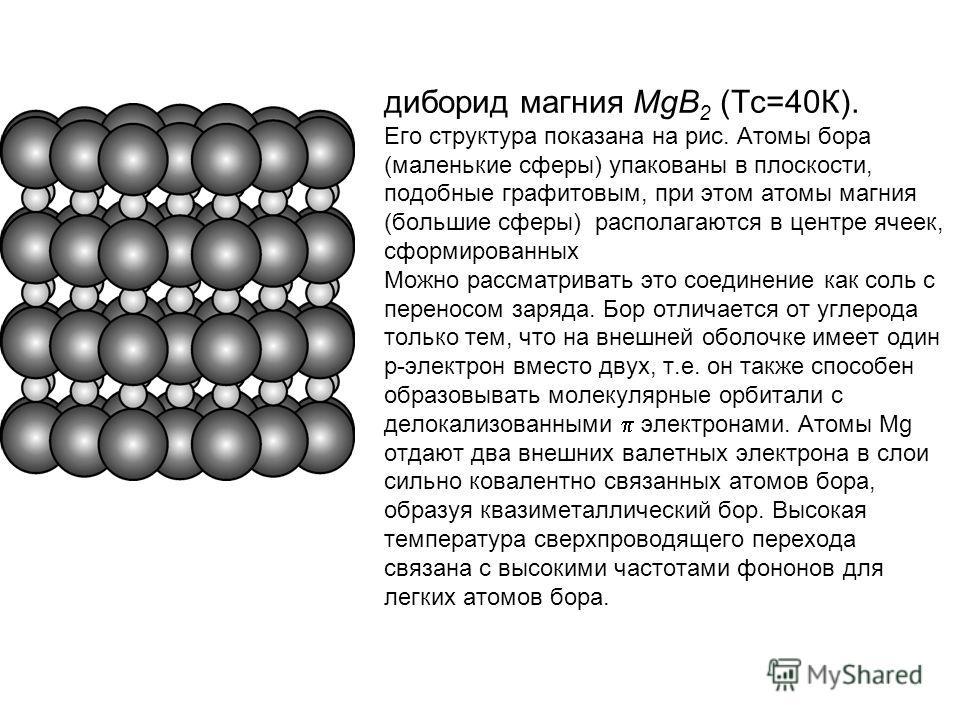 диборид магния MgB 2 (Тс=40К).