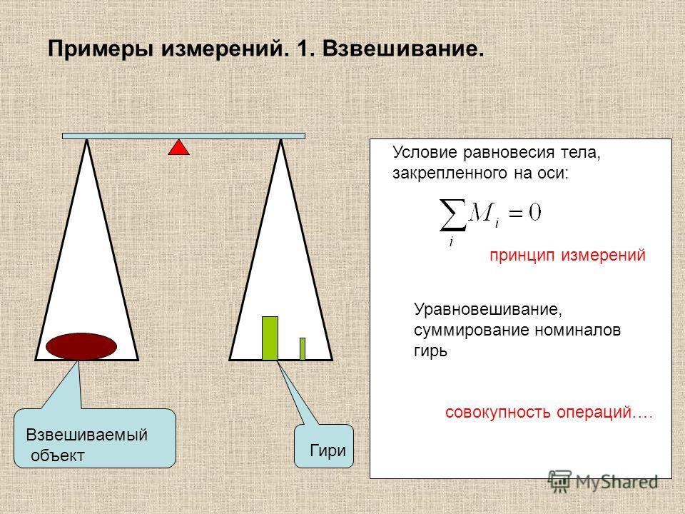 Примеры измерений. 1. Взвешивание. Взвешиваемый объект Гири Условие равновесия тела, закрепленного на оси: принцип измерений Уравновешивание, суммирование номиналов гирь совокупность операций….