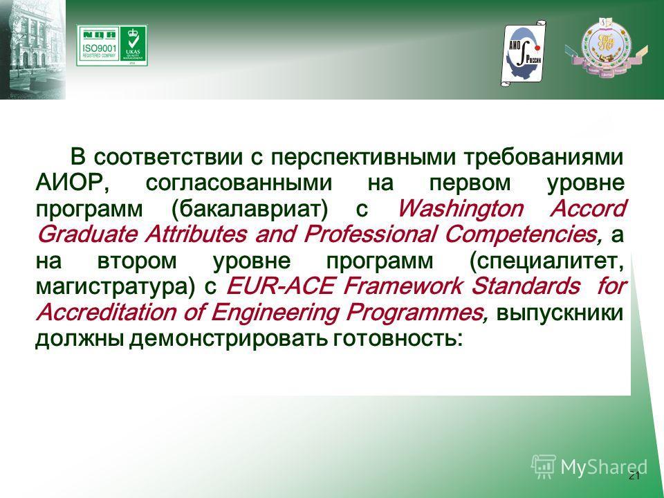 21 В соответствии с перспективными требованиями АИОР, согласованными на первом уровне программ (бакалавриат) с Washington Accord Graduate Attributes and Professional Competencies, а на втором уровне программ (специалитет, магистратура) с EUR-ACE Fram
