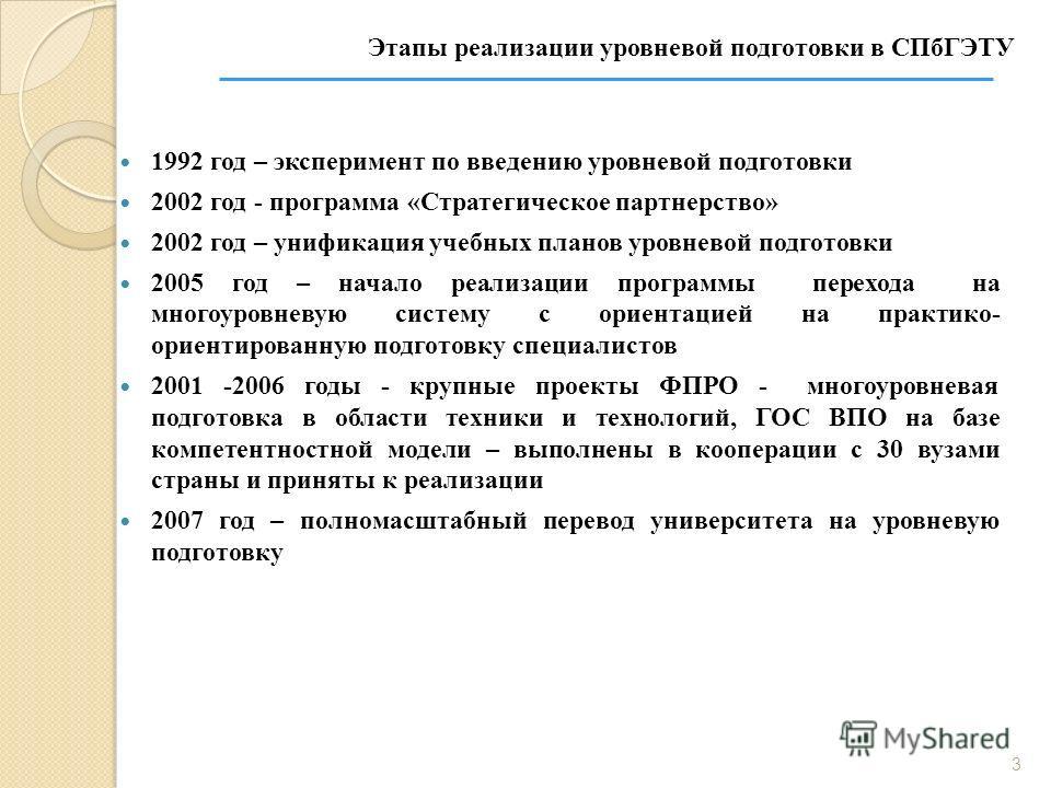 1992 год – эксперимент по введению уровневой подготовки 2002 год - программа «Стратегическое партнерство» 2002 год – унификация учебных планов уровневой подготовки 2005 год – начало реализации программы перехода на многоуровневую систему с ориентацие
