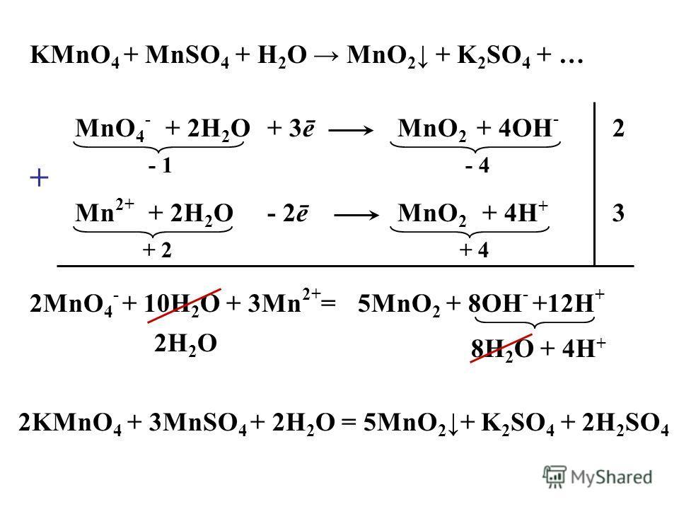KMnO 4 + MnSO 4 + H 2 O MnO 2 + K 2 SO 4 + … MnO 4 - MnO 2 + 2H 2 O+ 4OH - + 3ē - 1- 4 Mn 2+ MnO 2 + 2H 2 O+ 4H + + 2+ 4 - 2ē 2 3 2MnO 4 - + 10H 2 O + 3Mn 2+ =5MnO 2 + 8OH - +12H + 8H 2 O + 4H + 2H 2 O 2KMnO 4 + 3MnSO 4 + 2H 2 O = 5MnO 2+ K 2 SO 4 +