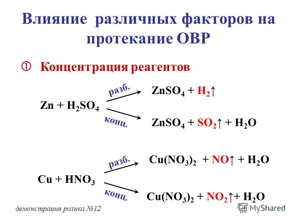 Влияние различных факторов на протекание ОВР Концентрация реагентов Zn + H 2 SO 4 ZnSO 4 + H 2 ZnSO 4 + SO 2 + H 2 O разб. конц. Cu + HNO 3 разб. конц. Cu(NO 3 ) 2 + NO + H 2 O Cu(NO 3 ) 2 + NO 2+ H 2 O демонстрация ролика 12