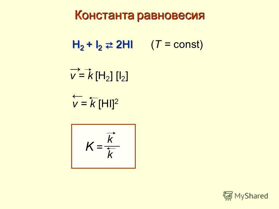 Константа равновесия Н 2 + I 2 2HI Н 2 + I 2 2HI (T = const) v = k [H 2 ] [I 2 ] v = k [HI] 2 K = k k