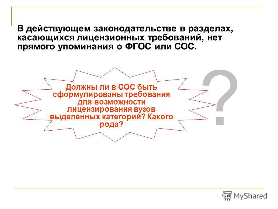 В действующем законодательстве в разделах, касающихся лицензионных требований, нет прямого упоминания о ФГОС или СОС. Должны ли в СОС быть сформулированы требования для возможности лицензирования вузов выделенных категорий? Какого рода? ?