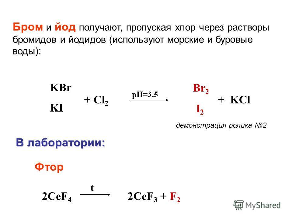 2CeF 4 2CeF 3 + F 2 t Бром и йод получают, пропуская хлор через растворы бромидов и йодидов (используют морские и буровые воды): Br 2 I 2 KBr KI + Cl 2 pH=3,5 + KCl В лаборатории: В лаборатории: Фтор демонстрация ролика 2