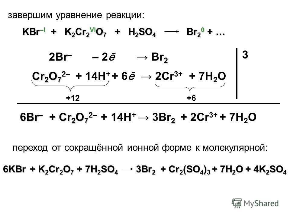 Cr 2 O 7 2 Cr 2 O 7 2– 2Cr 3+ + 14H + + 6 ē 2Br – 2 2Br – Br 2 – 2 ē 3 6KBr + K 2 Cr 2 O 7 + 7H 2 SO 4 +12+6+6 + 7H 2 O Br 2 0 + … завершим уравнение реакции: 6Br – + Cr 2 O 7 2 2 + 6Br – + Cr 2 O 7 2– + 14H + 3Br 2 + 2Cr 3+ + 7H 2 O 3Br 2 + Cr 2 (SO