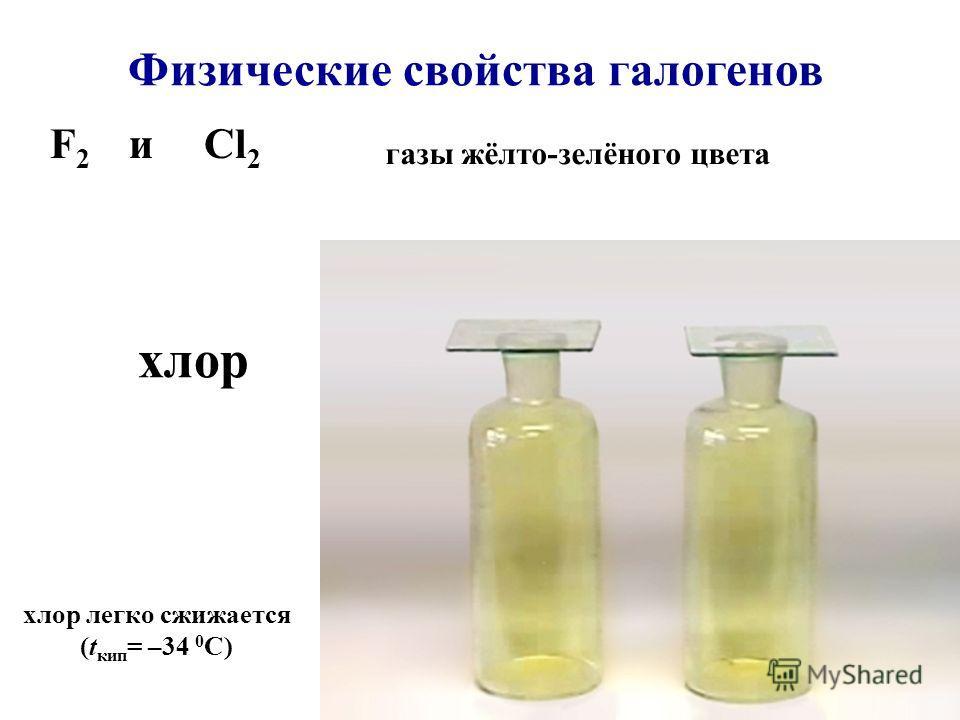 газы жёлто-зелёного цвета хлор легко сжижается (t кип = –34 0 C) F 2 и Cl 2 хлор Физические свойства галогенов