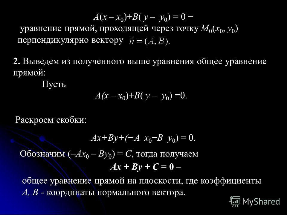 A(x – x 0 )+B( y – y 0 ) = 0 уравнение прямой, проходящей через точку M 0 (x 0, y 0 ) перпендикулярно вектору 2. Выведем из полученного выше уравнения общее уравнение прямой: Пусть A(x – x 0 )+B( y – y 0 ) =0. Раскроем скобки: Ax+By+(A x 0B y 0 ) = 0
