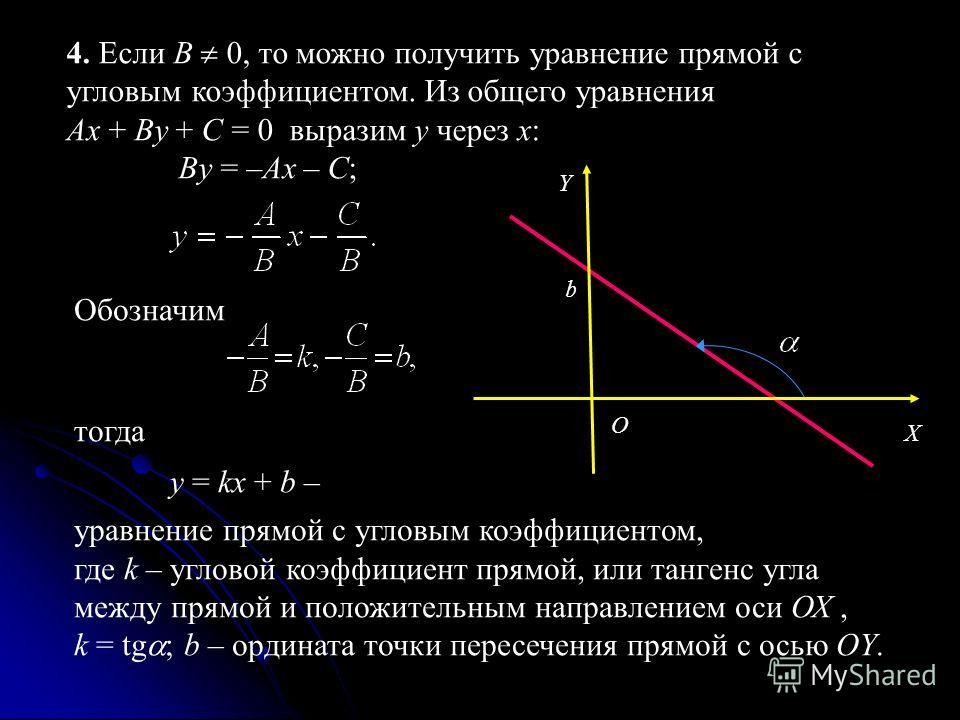4. Если В 0, то можно получить уравнение прямой с угловым коэффициентом. Из общего уравнения Ax + By + C = 0 выразим y через x: By = –Ax – C; Обозначим тогда y = kx + b – уравнение прямой с угловым коэффициентом, где k – угловой коэффициент прямой, и