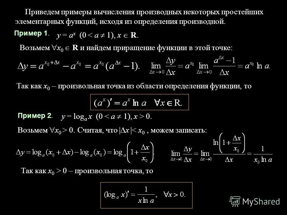 4 Пример 1. Приведем примеры вычисления производных некоторых простейших элементарных функций, исходя из определения производной. y = a x (0 < a 1), x R. Возьмем х 0 R и найдем приращение функции в этой точке: Так как х 0 – произвольная точка из обла