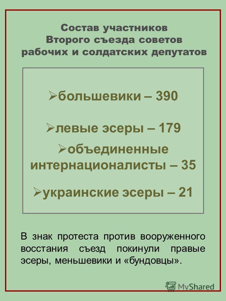Состав участников Второго съезда советов рабочих и солдатских депутатов большевики – 390 левые эсеры – 179 объединенные интернационалисты – 35 украинские эсеры – 21 В знак протеста против вооруженного восстания съезд покинули правые эсеры, меньшевики