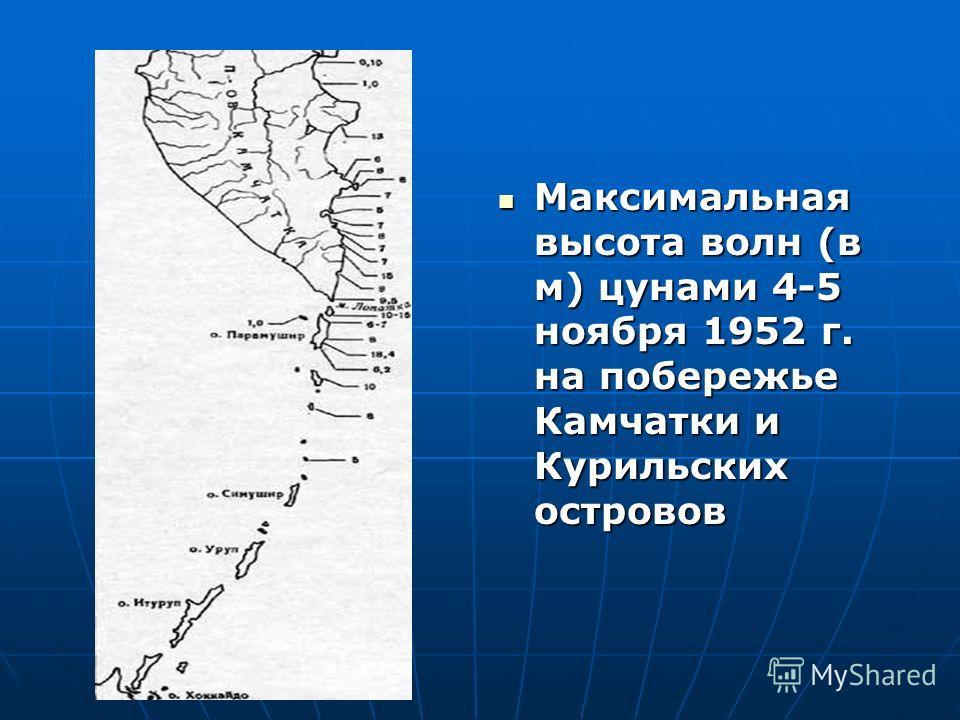 Максимальная высота волн (в м) цунами 4-5 ноября 1952 г. на побережье Камчатки и Курильских островов Максимальная высота волн (в м) цунами 4-5 ноября 1952 г. на побережье Камчатки и Курильских островов