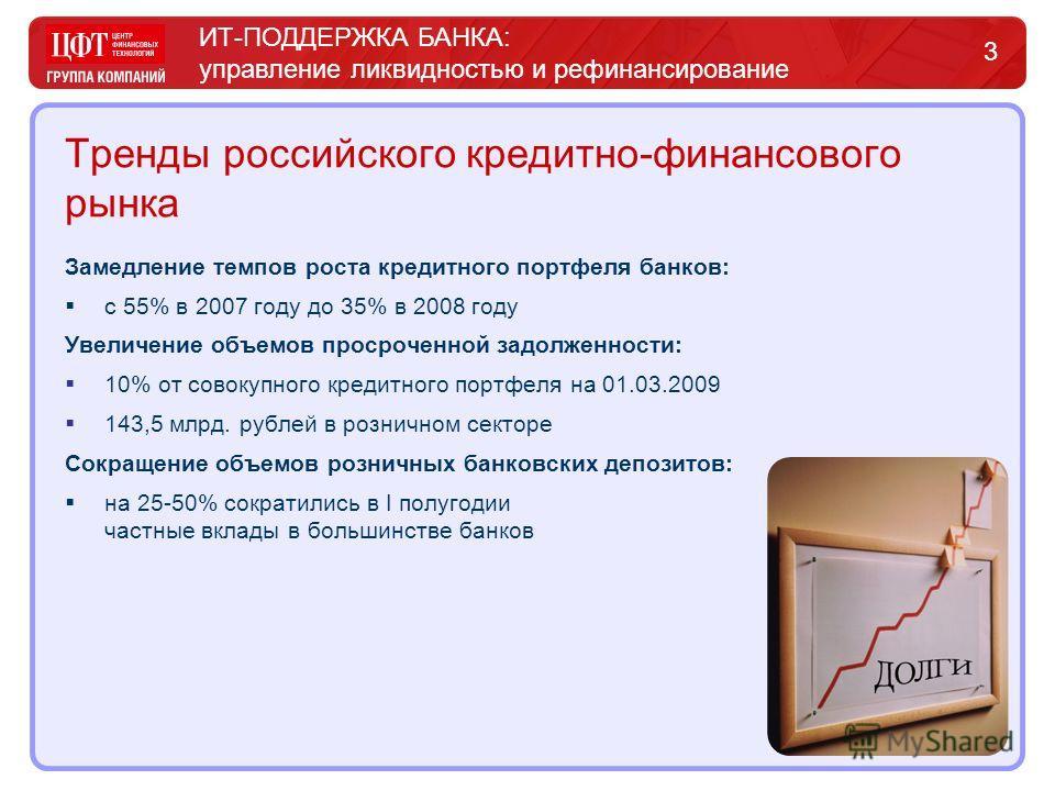 ИТ-ПОДДЕРЖКА БАНКА: управление ликвидностью и рефинансирование 3 Тренды российского кредитно-финансового рынка Замедление темпов роста кредитного портфеля банков: с 55% в 2007 году до 35% в 2008 году Увеличение объемов просроченной задолженности: 10%