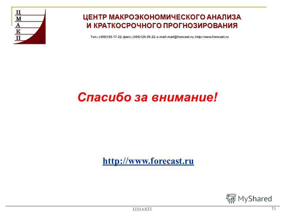 13 ЦМАКП ЦЕНТР МАКРОЭКОНОМИЧЕСКОГО АНАЛИЗА И КРАТКОСРОЧНОГО ПРОГНОЗИРОВАНИЯ Тел.: (499)129-17-22, факс: (499)129-09-22, e-mail: mail@forecast.ru, http://www.forecast.ru Спасибо за внимание! http://www.forecast.ru