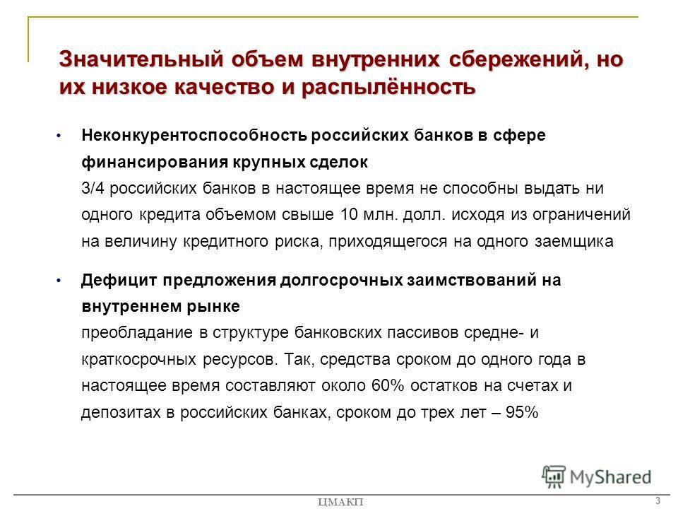 3 ЦМАКП Значительный объем внутренних сбережений, но их низкое качество и распылённость Неконкурентоспособность российских банков в сфере финансирования крупных сделок 3/4 российских банков в настоящее время не способны выдать ни одного кредита объем