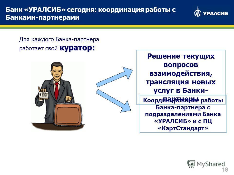 19 Банк «УРАЛСИБ» сегодня: координация работы с Банками-партнерами куратор: Для каждого Банка-партнера работает свой куратор: Решение текущих вопросов взаимодействия, трансляция новых услуг в Банки- партнеры Координирование работы Банка-партнера с по