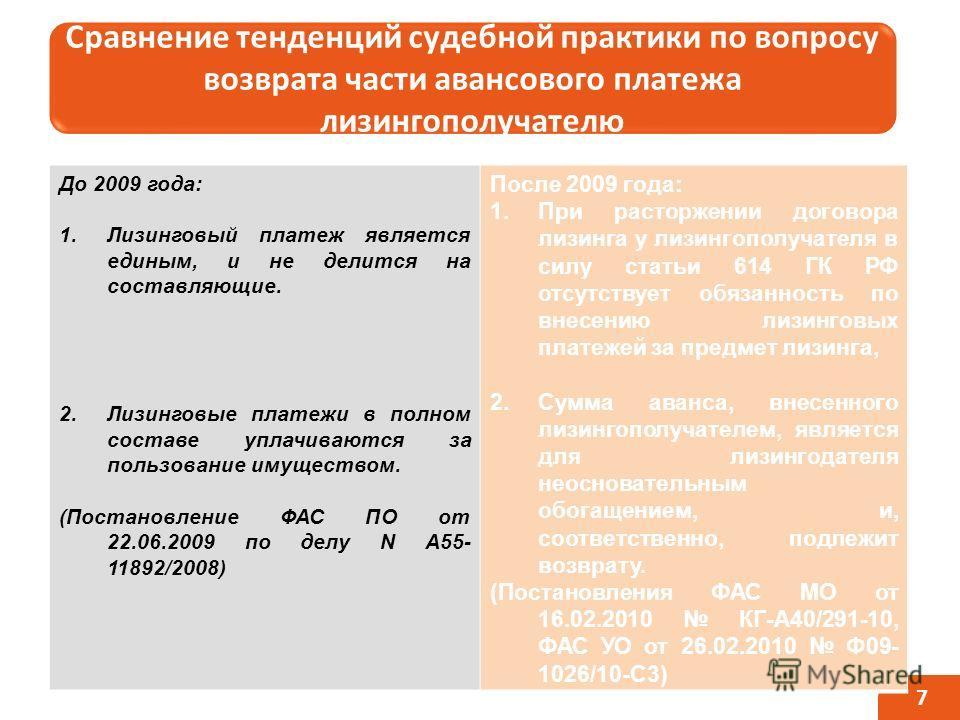 Сравнение тенденций судебной практики по вопросу возврата части авансового платежа лизингополучателю 7 До 2009 года: 1.Лизинговый платеж является единым, и не делится на составляющие. 2.Лизинговые платежи в полном составе уплачиваются за пользование