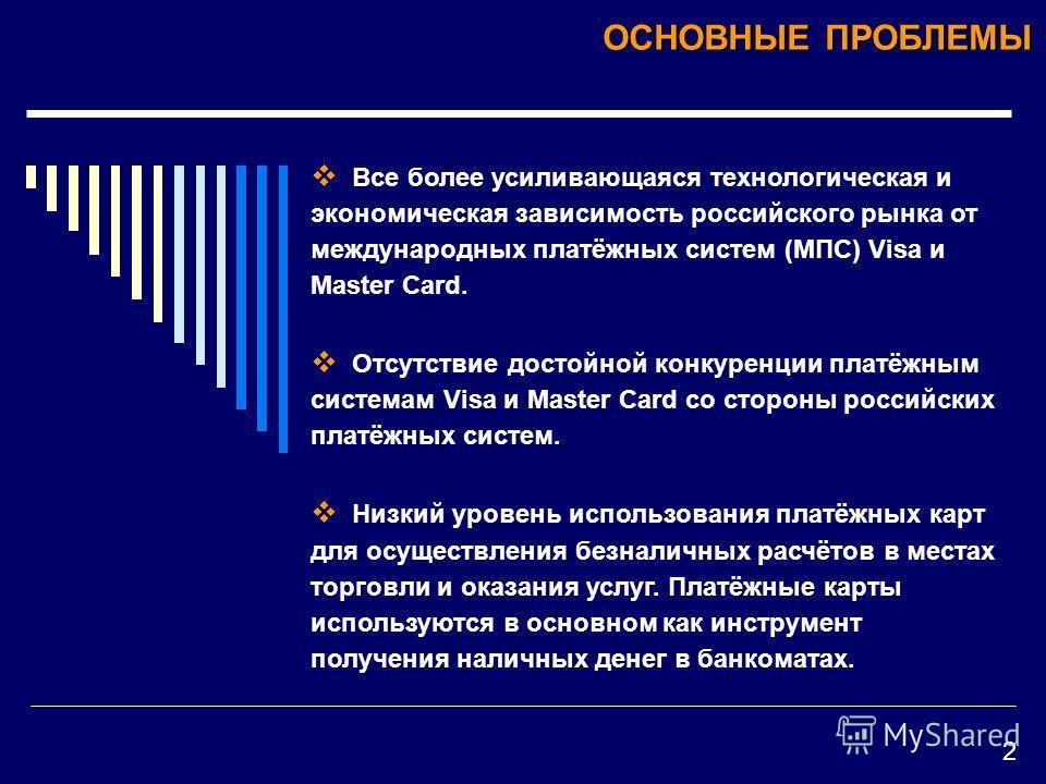 Все более усиливающаяся технологическая и экономическая зависимость российского рынка от международных платёжных систем (МПС) Visa и Master Card. Отсутствие достойной конкуренции платёжным системам Visa и Master Card со стороны российских платёжных с