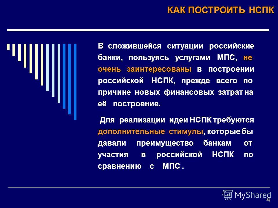 КАК ПОСТРОИТЬ НСПК не очень заинтересованы В сложившейся ситуации российские банки, пользуясь услугами МПС, не очень заинтересованы в построении российской НСПК, прежде всего по причине новых финансовых затрат на её построение. Для реализации идеи НС