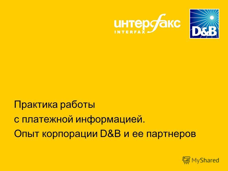 Практика работы с платежной информацией. Опыт корпорации D&B и ее партнеров