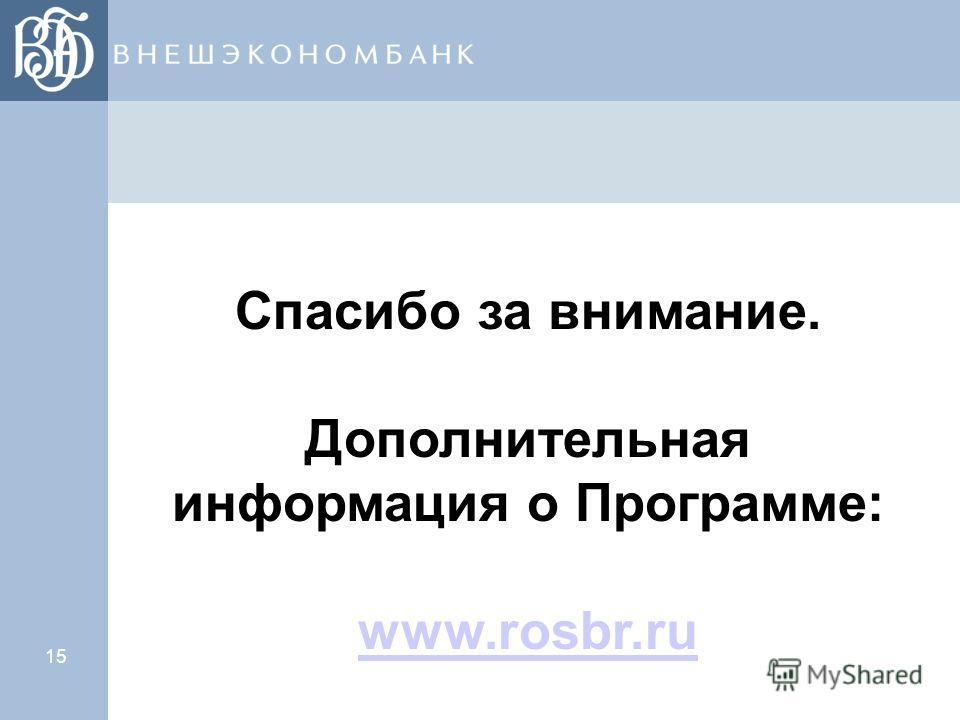 15 Спасибо за внимание. Дополнительная информация о Программе: www.rosbr.ru