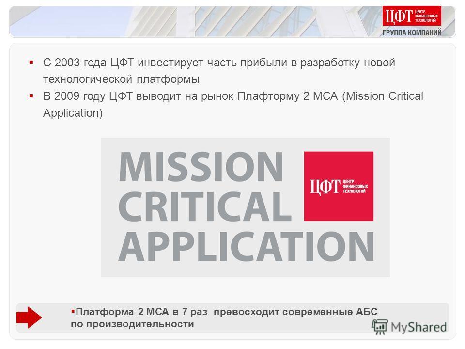 С 2003 года ЦФТ инвестирует часть прибыли в разработку новой технологической платформы В 2009 году ЦФТ выводит на рынок Плафторму 2 МСА (Mission Critical Application) Платформа 2 МСА в 7 раз превосходит современные АБС по производительности