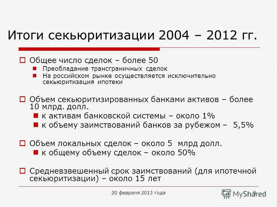 20 февраля 2013 года9 Итоги секьюритизации 2004 – 2012 гг. Общее число сделок – более 50 Преобладание трансграничных сделок На российском рынке осуществляется исключительно секьюритизация ипотеки Объем секьюритизированных банками активов – более 10 м